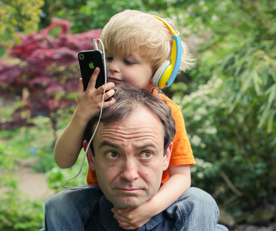 STUCK TO THE SCREEN: DAVID BOND AND HIS PRE-OCCUPIED SON ALBIE.