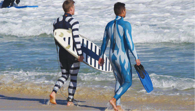 Wetsuits designed to deter sharks. On the left, a wetsuit designed to appear unappetising like a poisonous fish. On the right, a wetsuit designed to make you appear 'invisible' in the water. Image courtesy of www.dailymail.co.uk