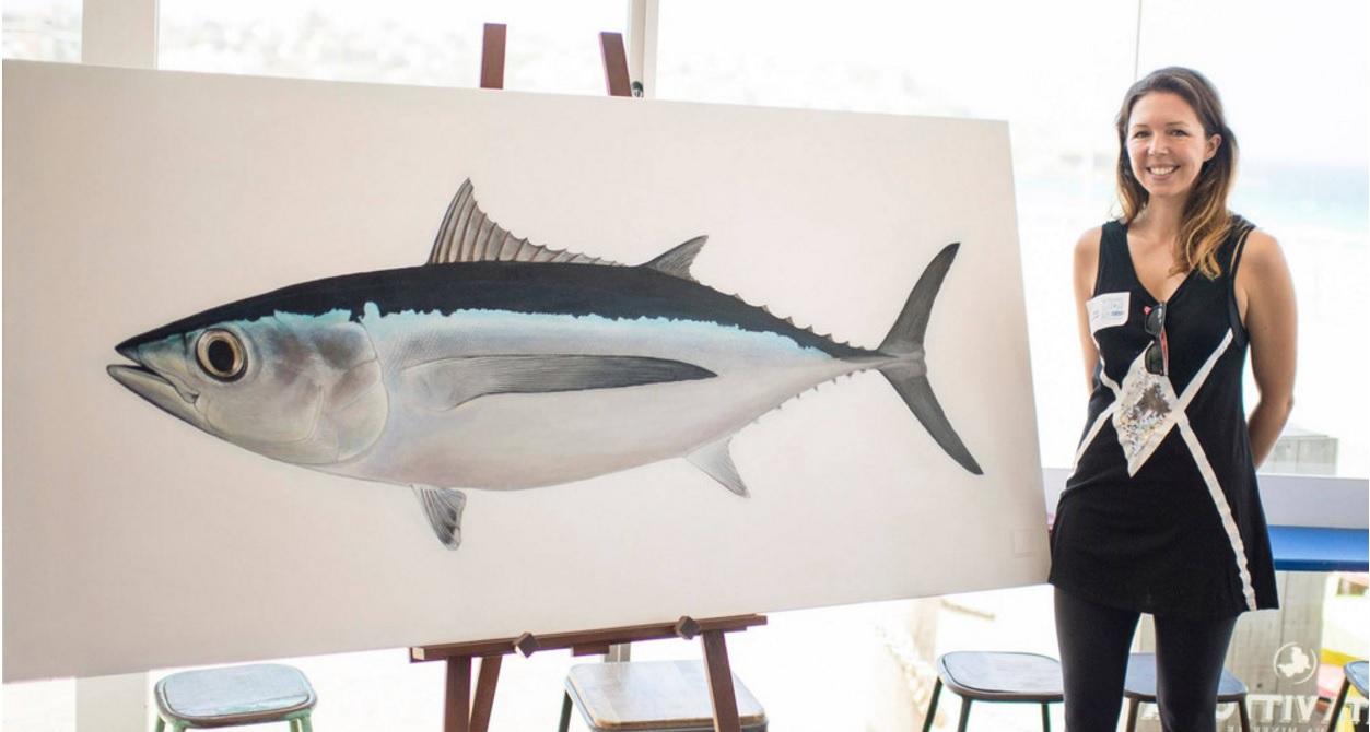 Dr. Lindsay Gutteridge (n ée Marshall) and her artwork.  Image:      stickfigurefish.com.au     , courtesy of L. Gutteridge