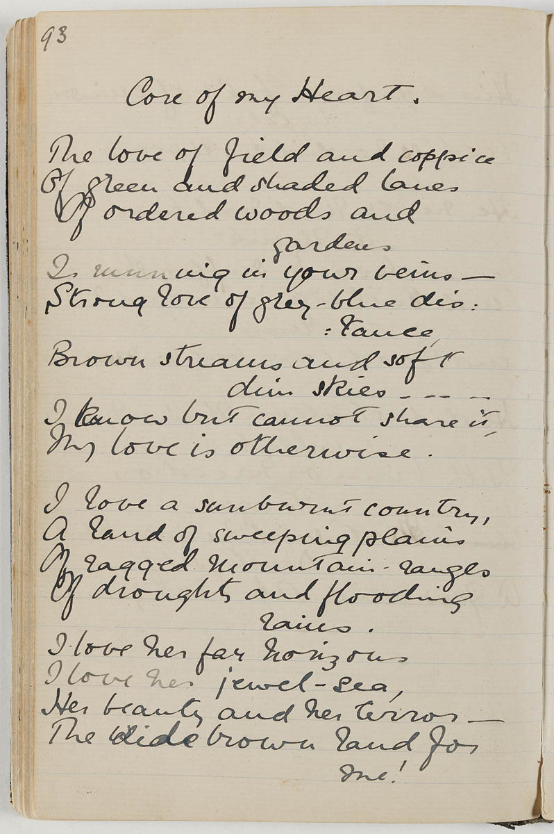 Page 1 of 'My Country (Core of my Heart)' by Dorothea Mackellar.  Image: State Library of New South Wales / Wikimedia Commons