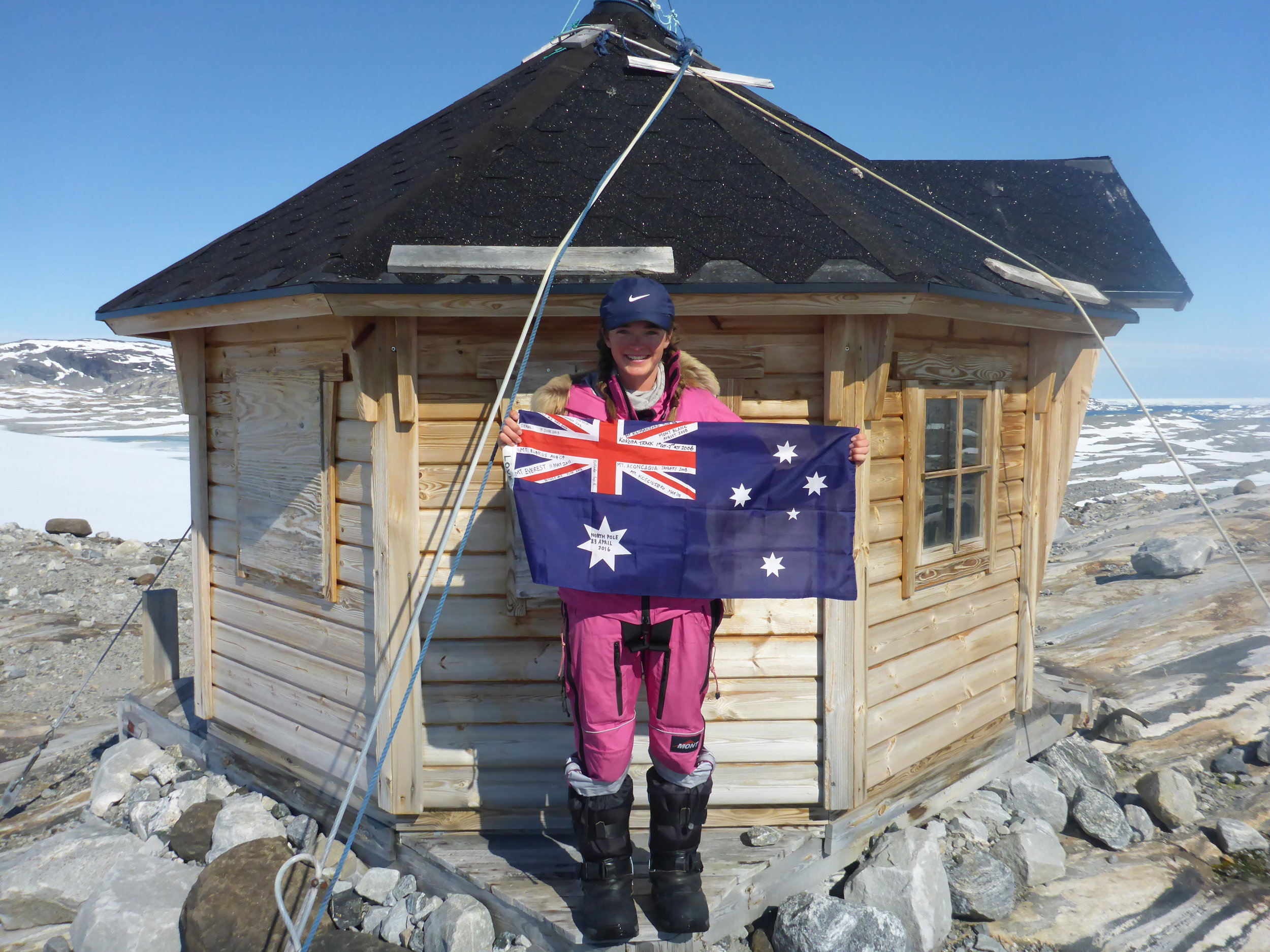Teen polar explorer Jade Hameister after becoming the youngest woman in history to traverse the Greenland icecap, the day before her sixteenth birthday.