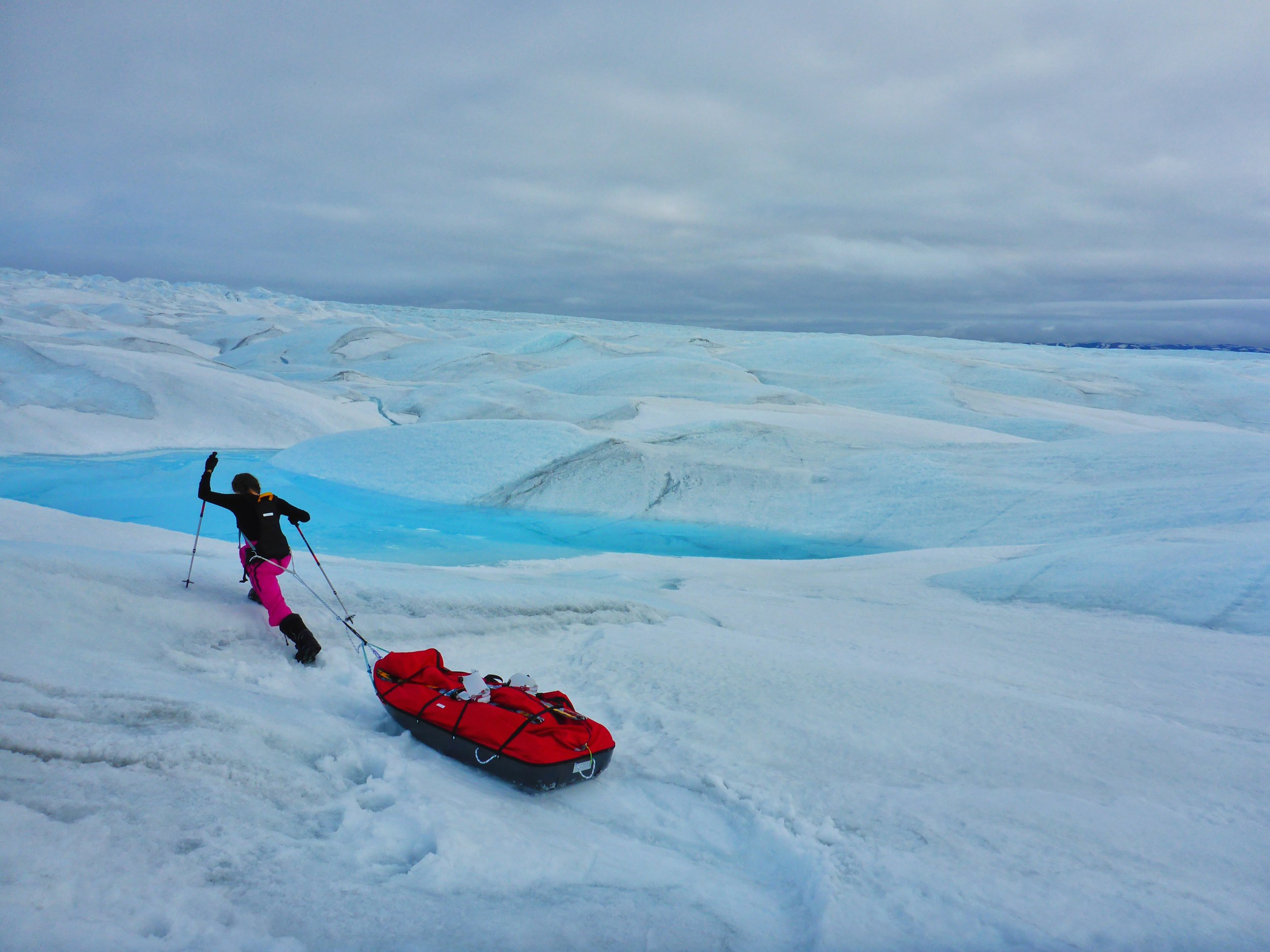 Jade had to drag a 70kg sled of gear behind her for the 540km journey.