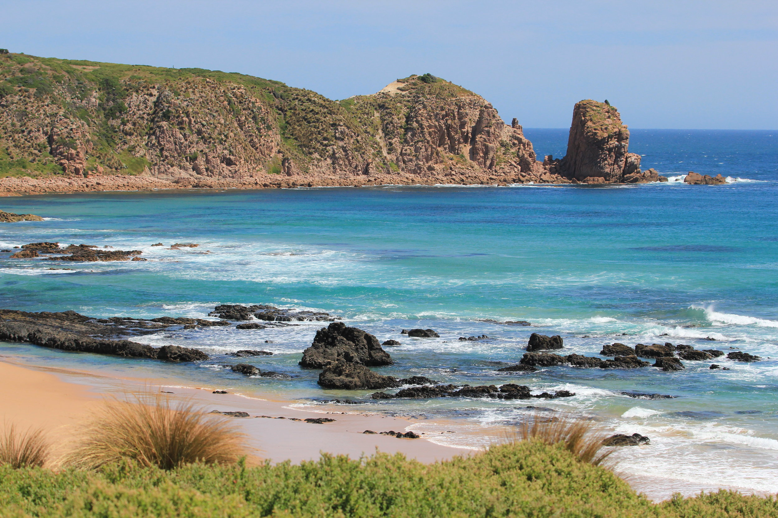 A clifftop view of the Pinnacles at Cape Woolamai.  Image: Elodie Camprasse