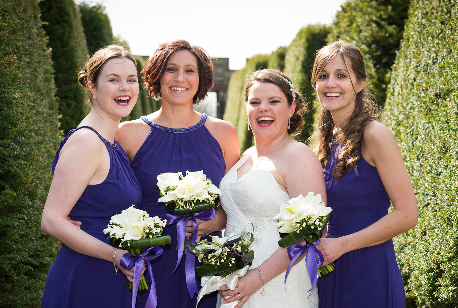 Wedding photography in the gardens at Hoghton Tower