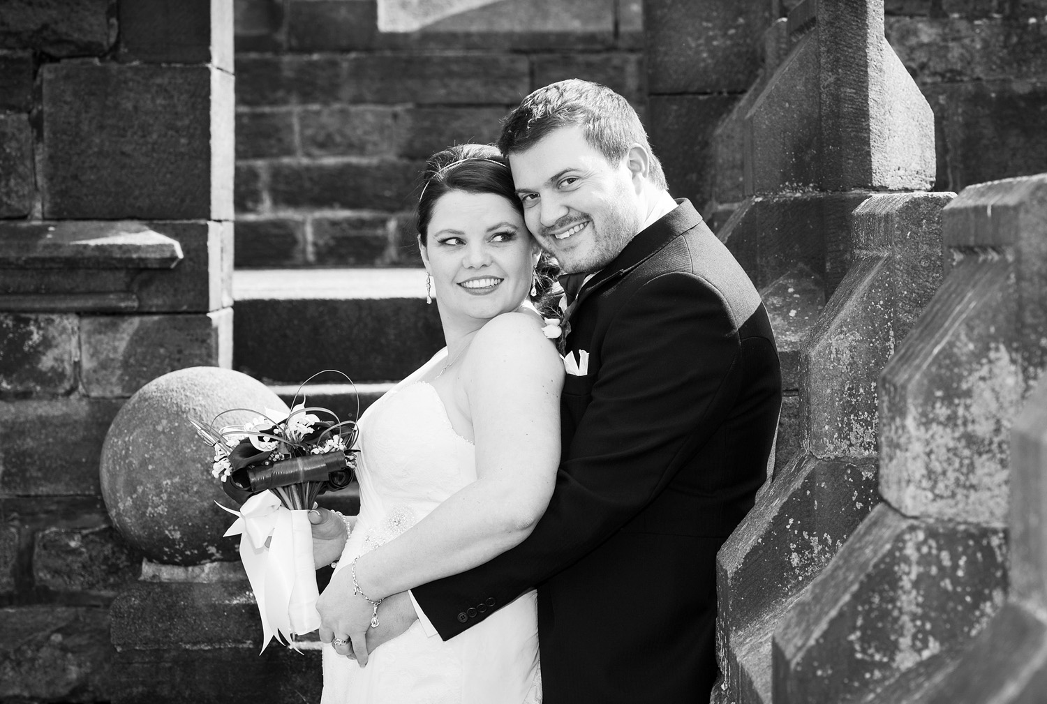 Wedding photographs on the ramparts of Hoghton Tower