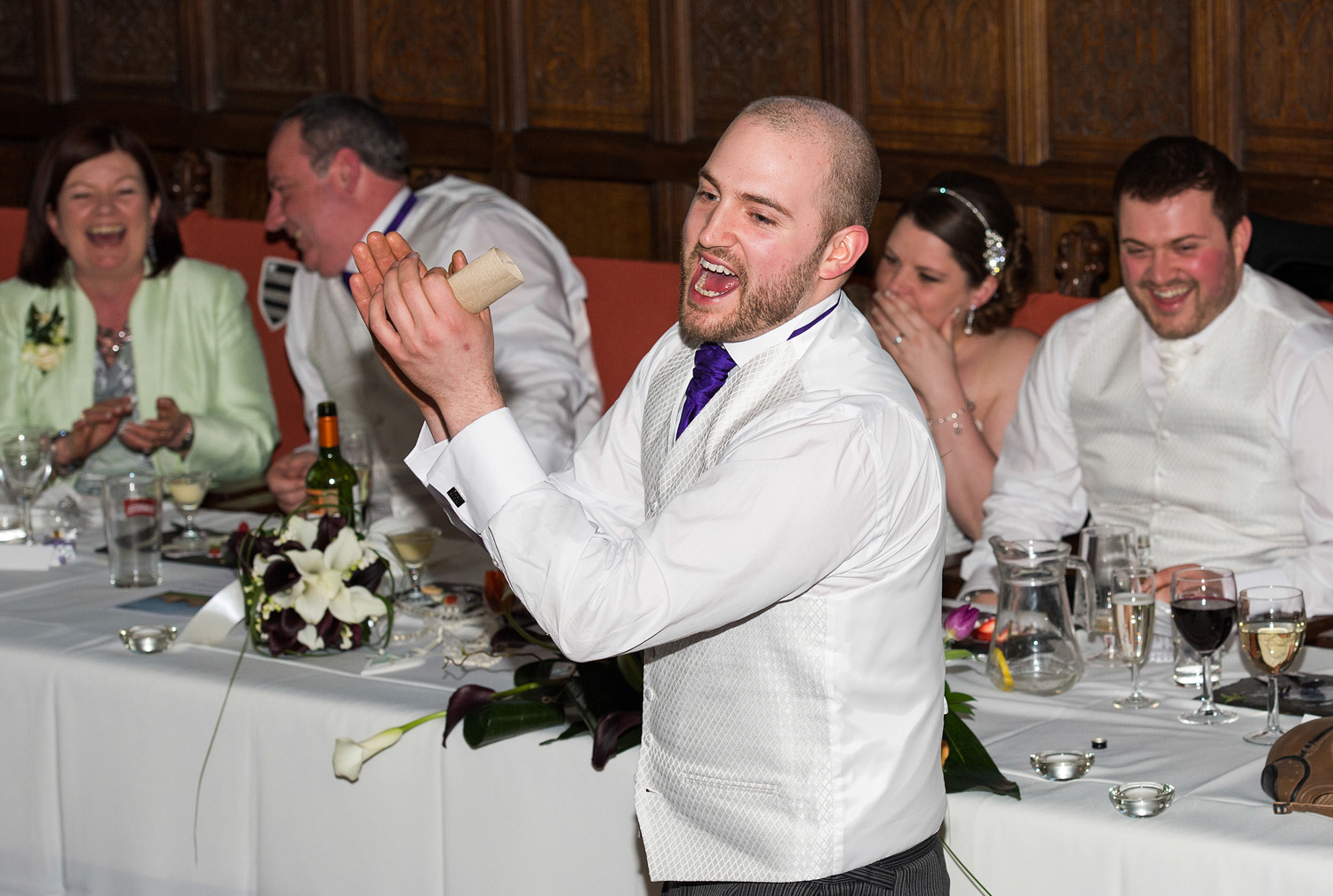 A wedding reception at Hoghton Tower ne