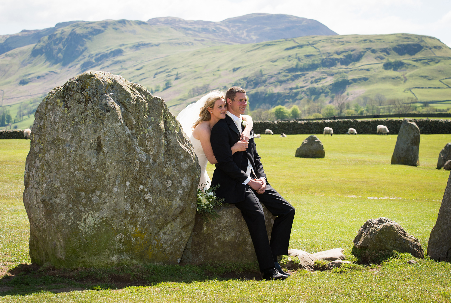 Castlerigg stone circle was a breathtaking back-drop for Rebecca & Carrick's wedding photographs.