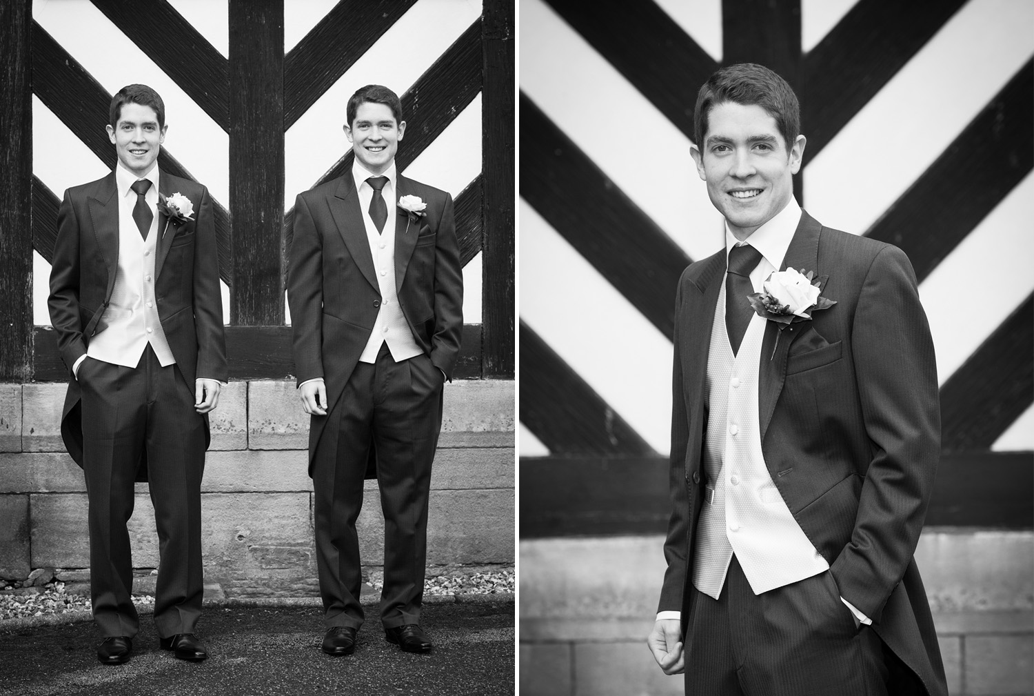 Symmetry at Samlesbury Hall, Preston, Lancashire. Identical twins, the Groom and his Best man.