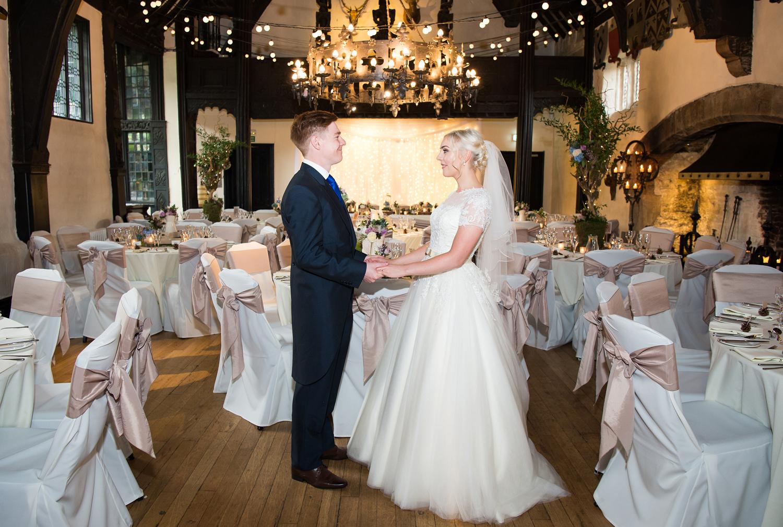 Bride and Groom photographed at their Samlesbury Hall wedding reception
