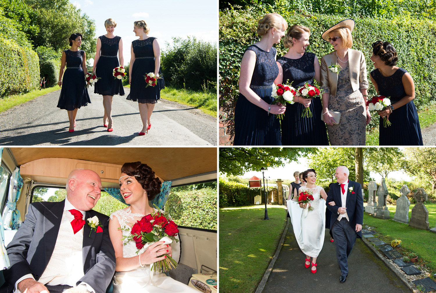 Photographs of the bridesmaids, bride and father of the bride arriving at Church