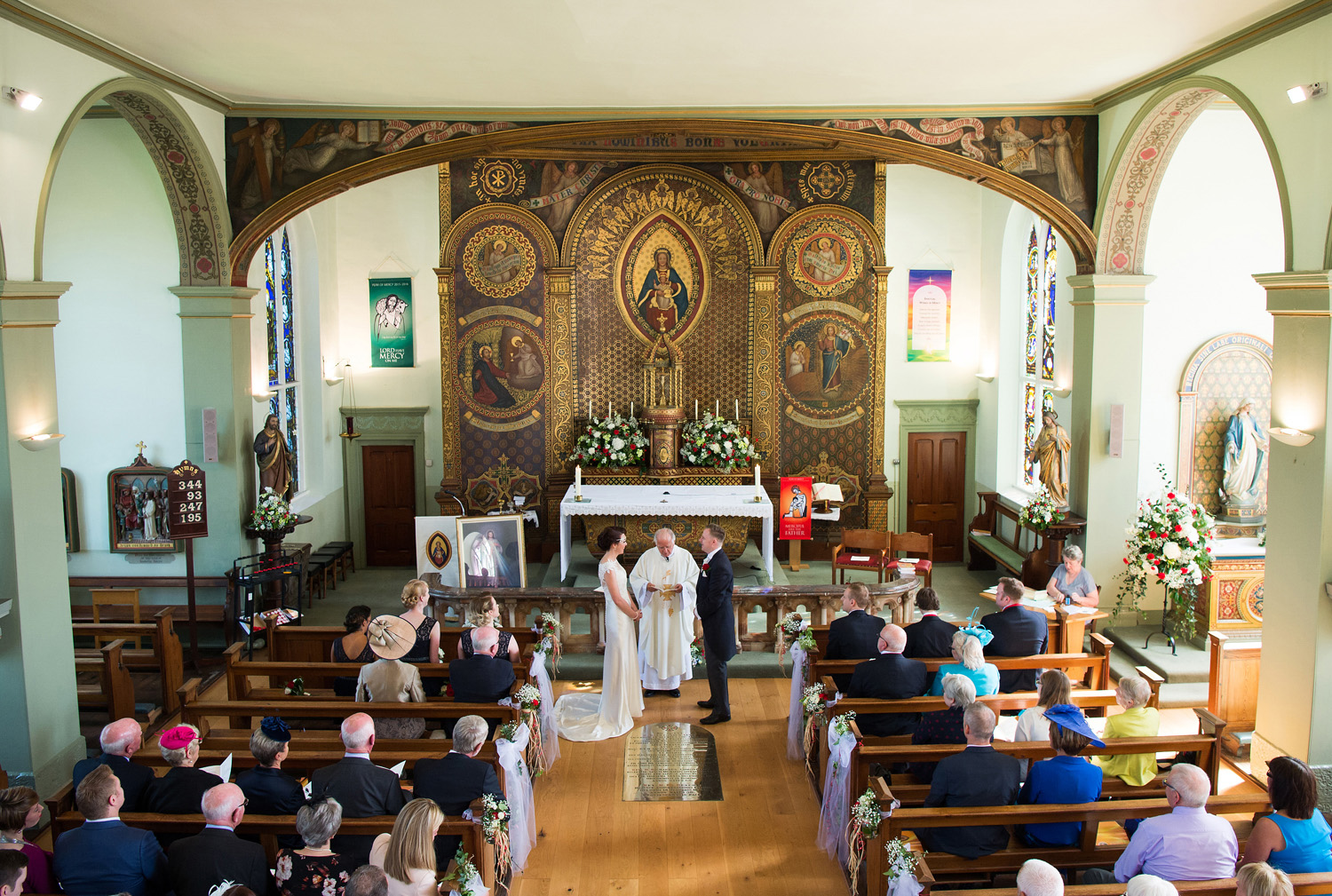 Wide angle wedding photograph at St. Mary's Church Fernyhalgh