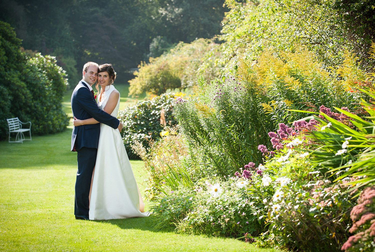 Bride & Groom in the Leighton Hall Gardens