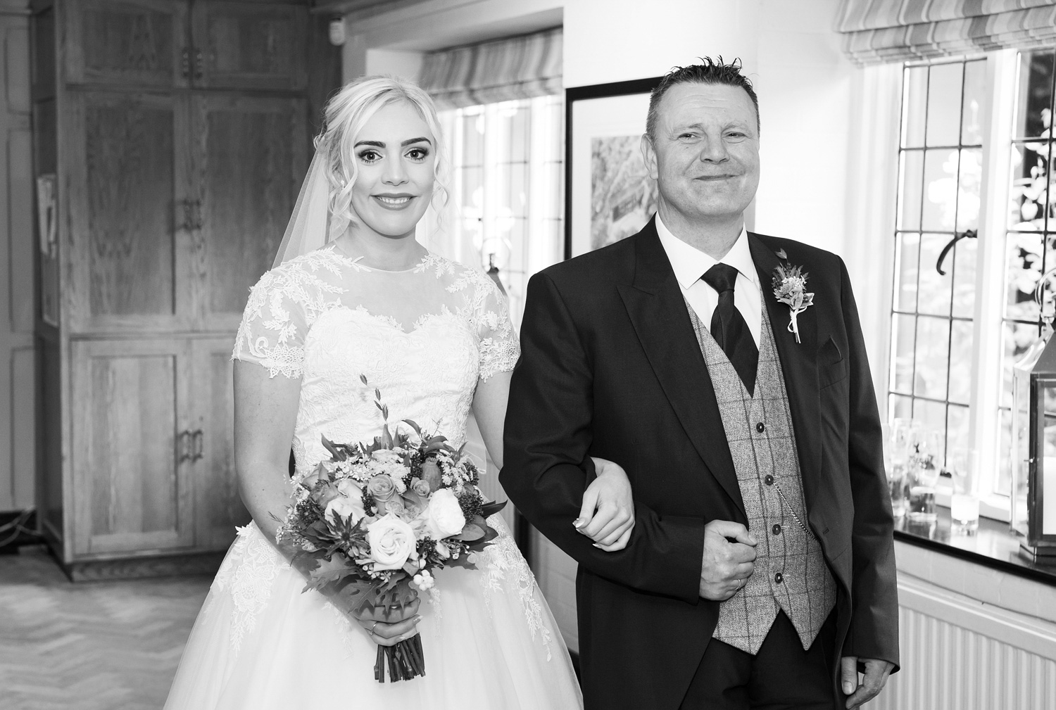 Bride and father of the Bride at Samlesbury Hall