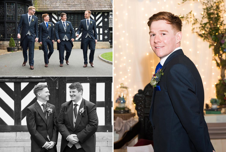 Groom and Groomsmen photographed at Samlesbury Hall Wedding
