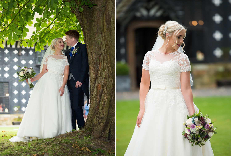 Bride and Groom photographed at Samlesbury Hall