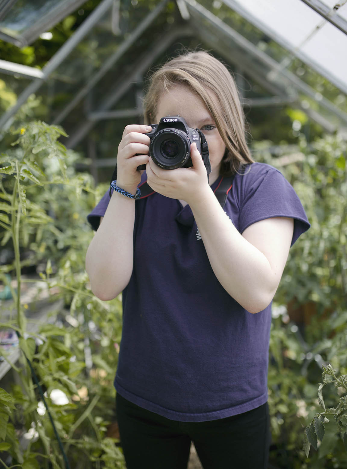 Zoe in the greenhouse