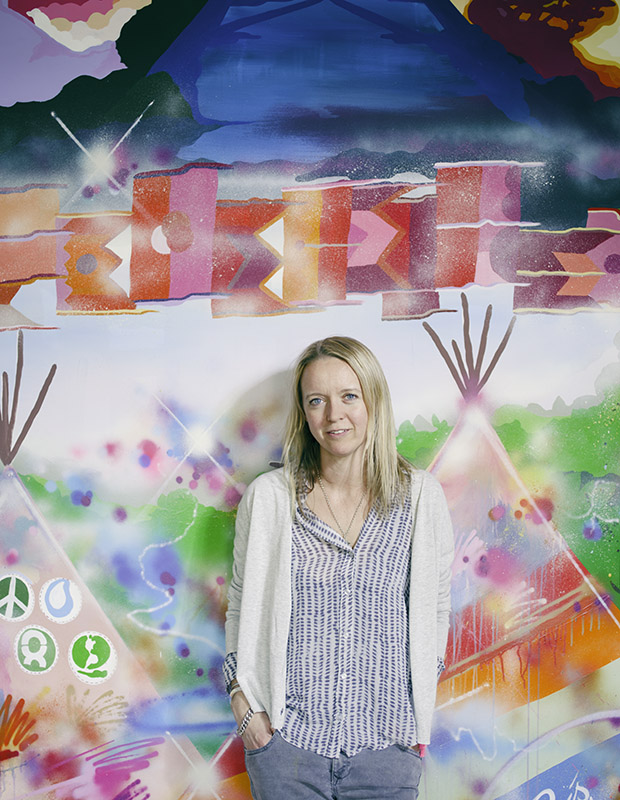 Emily Eavis photographed at Worthy Farm, Somerset