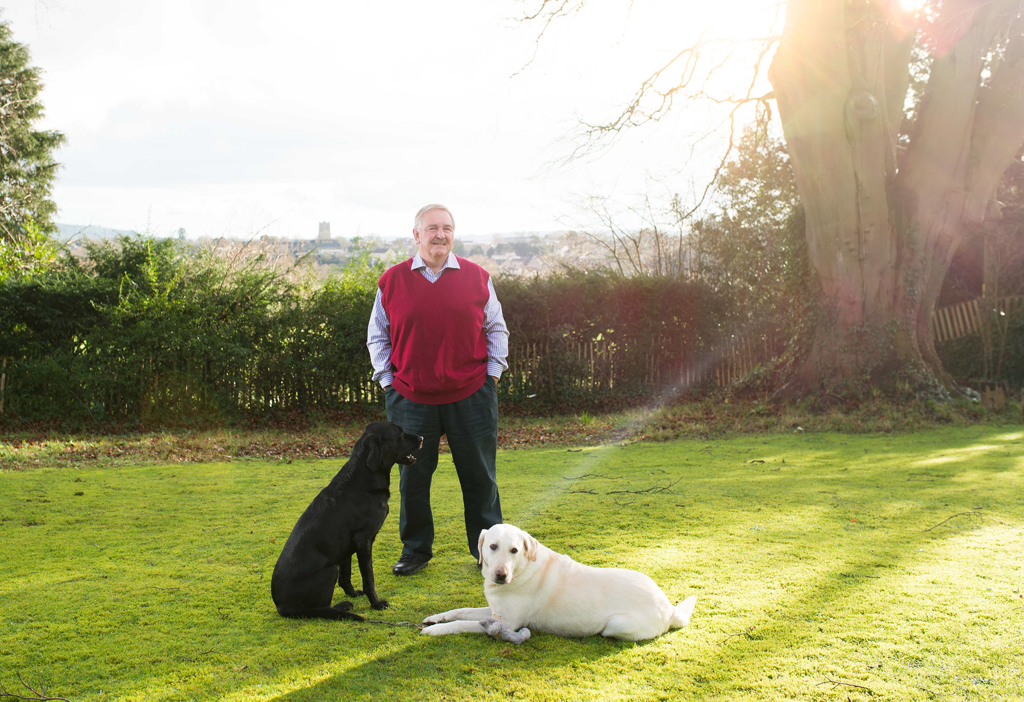 David Nutt pictured with his two dogs Sonny and Borris.