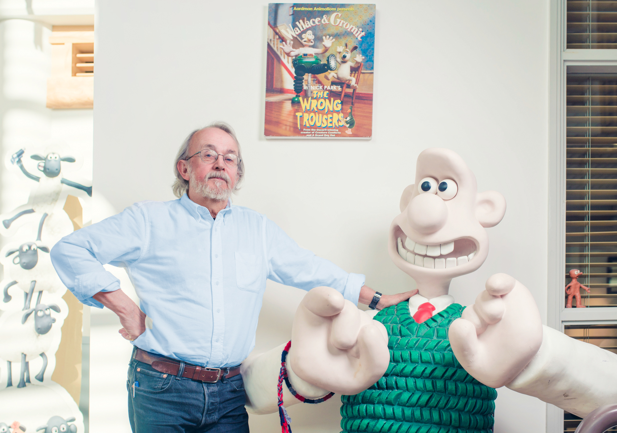 Animator Peter Lord pictured with an upsized Wallace of Walace and Gromit