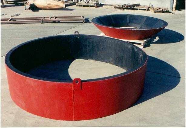 Cone walls fabricated with rubber to increase life expectancy and decrease noise for a quieter work environment.