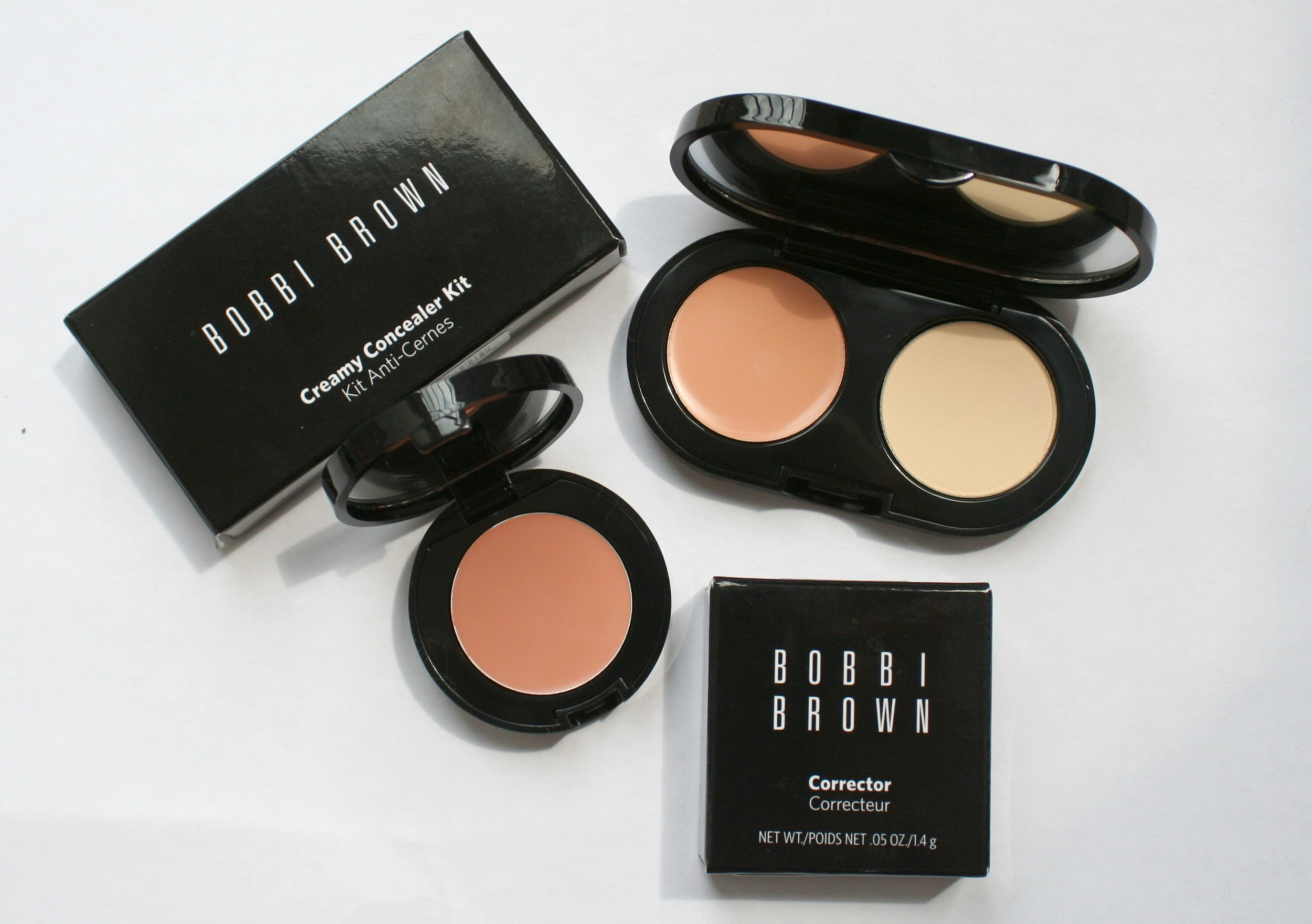 Bobbi Brown corrector in light to medium bisque, and concealer kit in cool sand