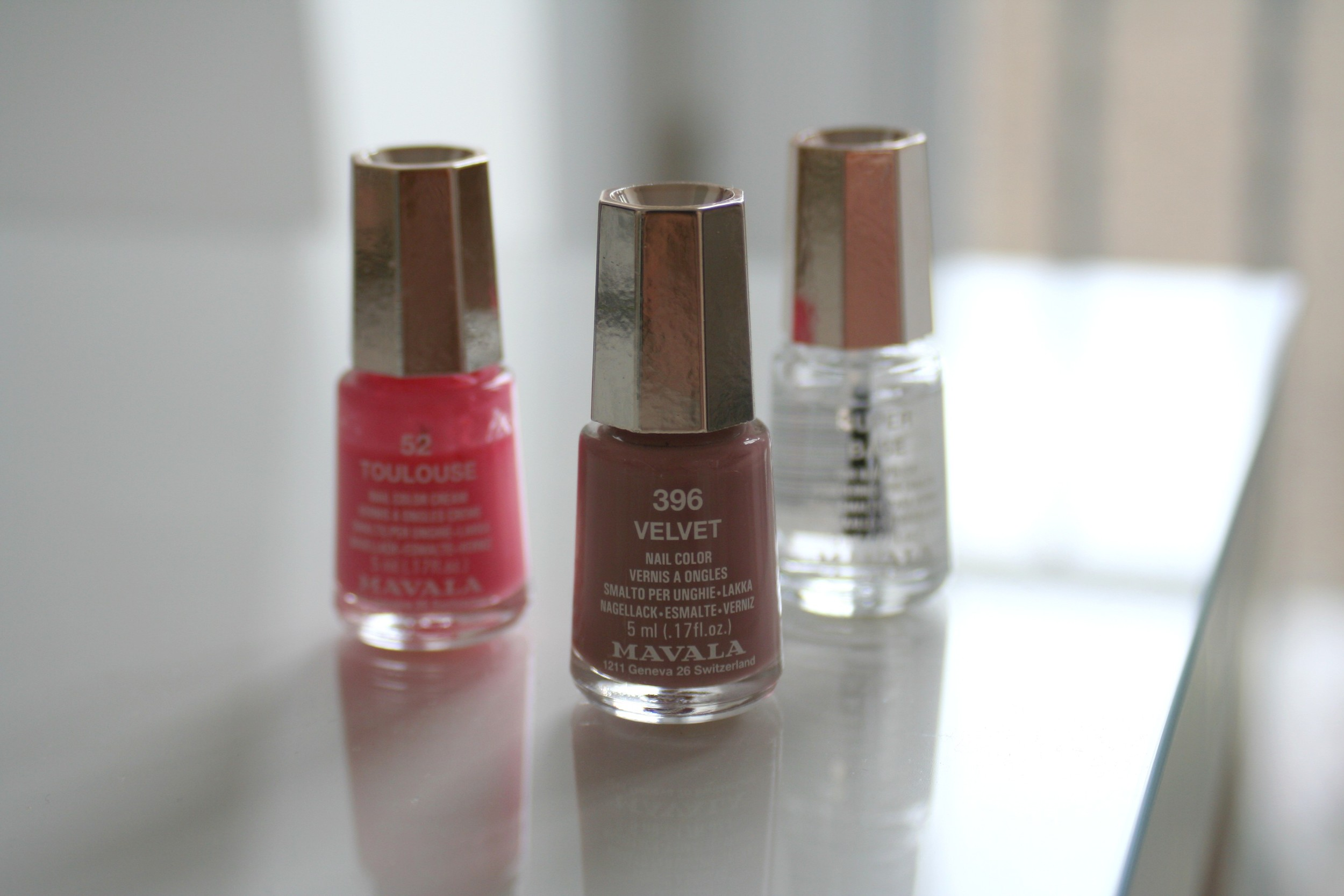 Mavala polishes in 'Toulouse' and 'Velvet' along with their base coat 'Super Base'