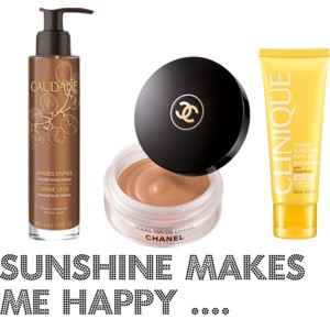Caudalie divine legs, Chanel Soleil de Tan, Clinique sunscreen