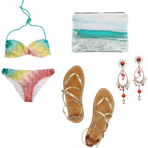 Missoni bikini (via Netaporter), Tulum clutch (via Shopbop), Isabel Marant earrings, K Jacques sandals