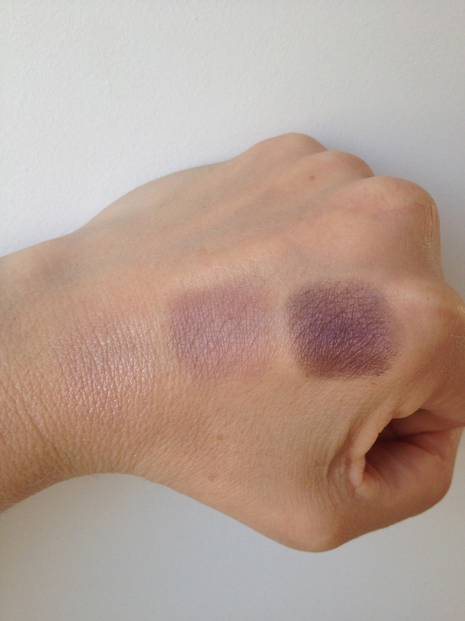 Paul and Joe eye shadow swatches, left to right colours 15, 31 and 11