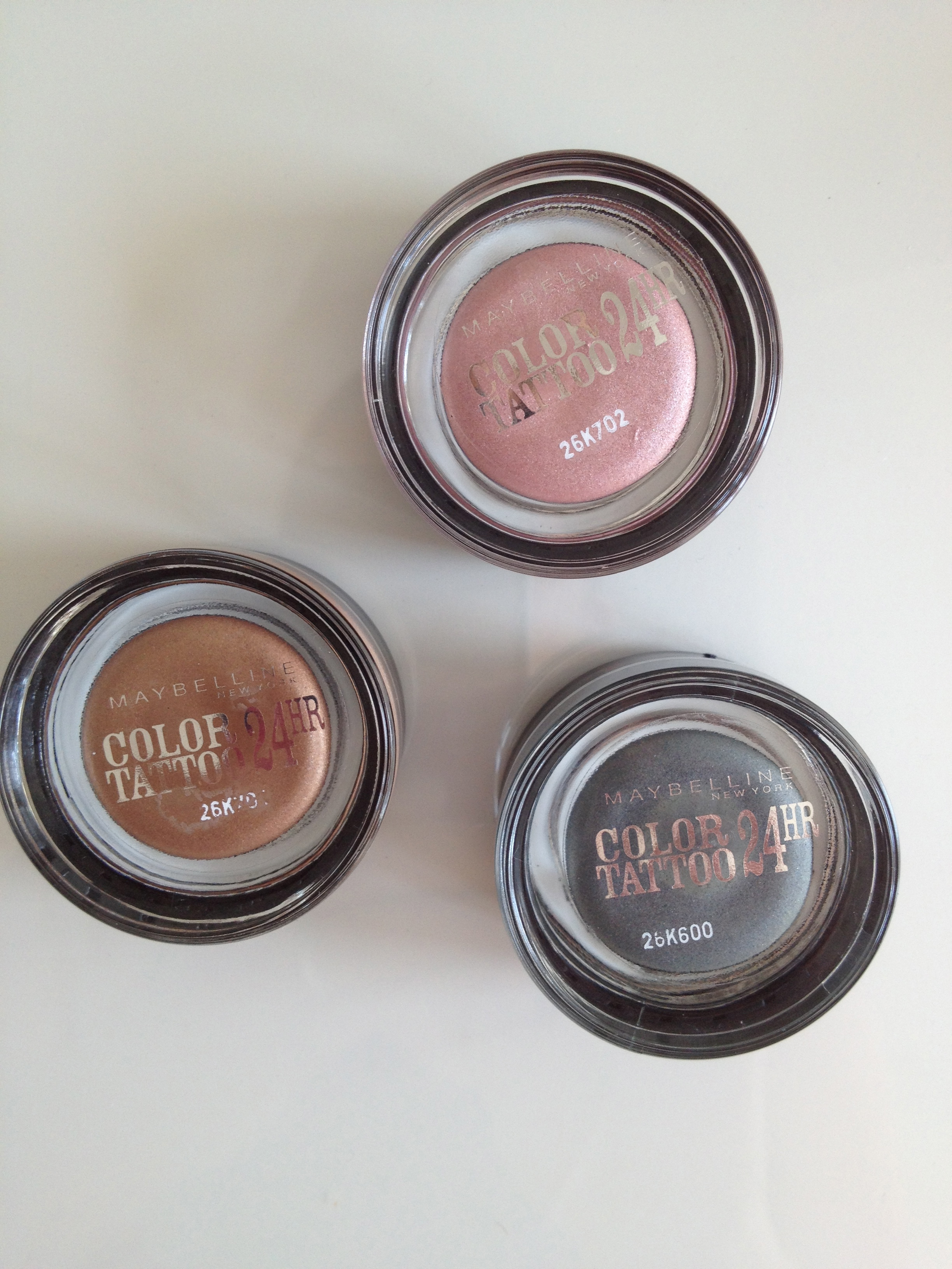 Maybelline Colour Tattoo eye shadows in Pink Gold, On and On Bronze and Immortal Charcoal