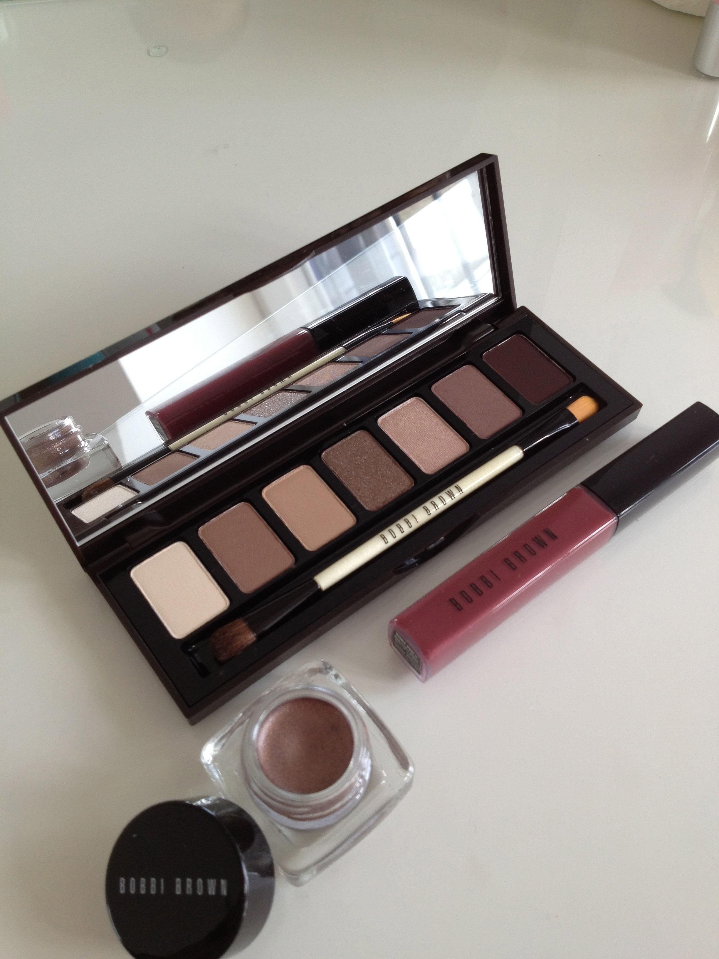 Rich Chocolate Palette shown here with Long-Wear Cream Shadow in Velvet Plum & Rich Colour Gloss in Ruby Red