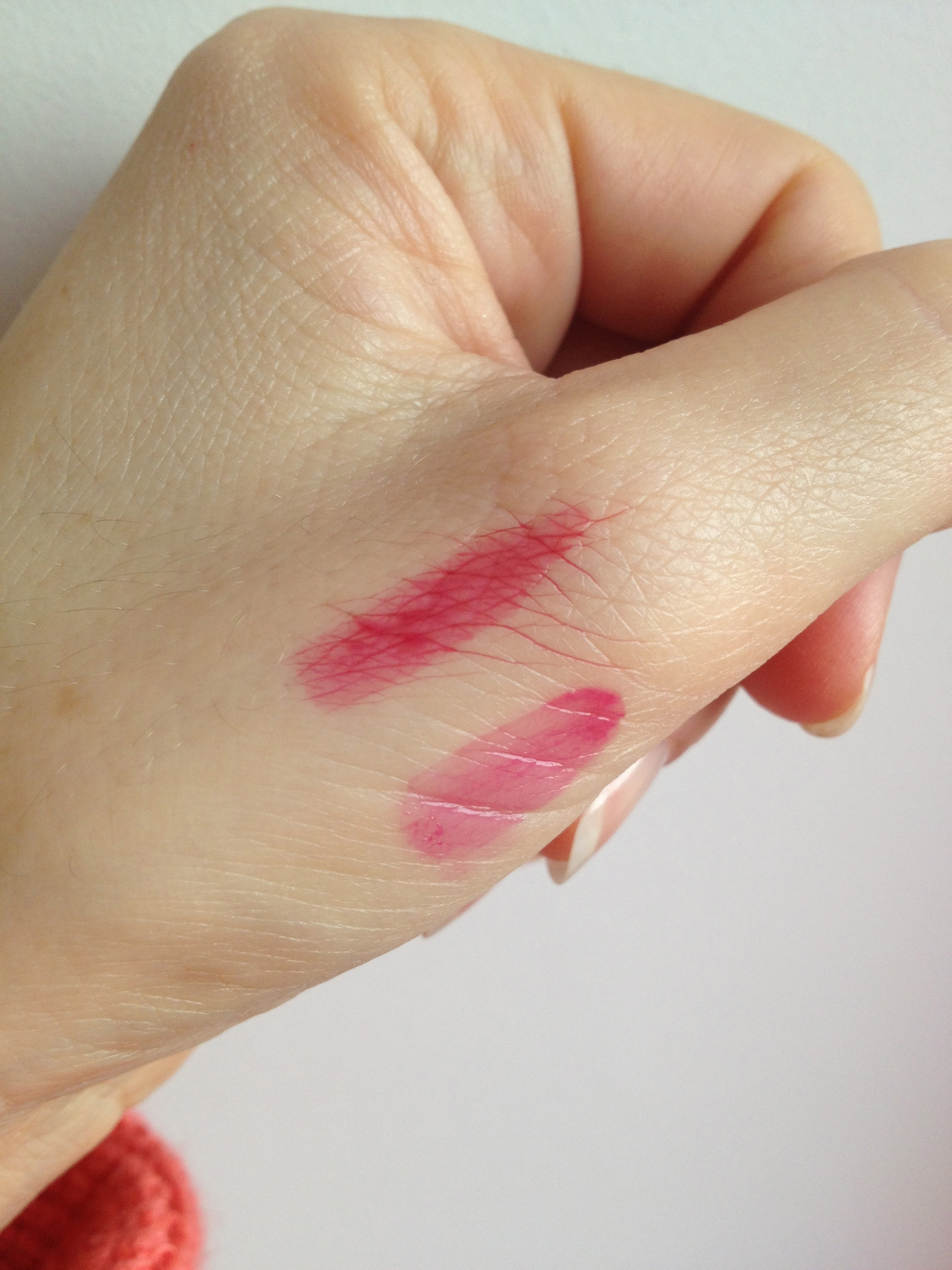 Top swatch - Me Me Me's Cherub's Blush  Bottom swatch - The Balm's Stainiac