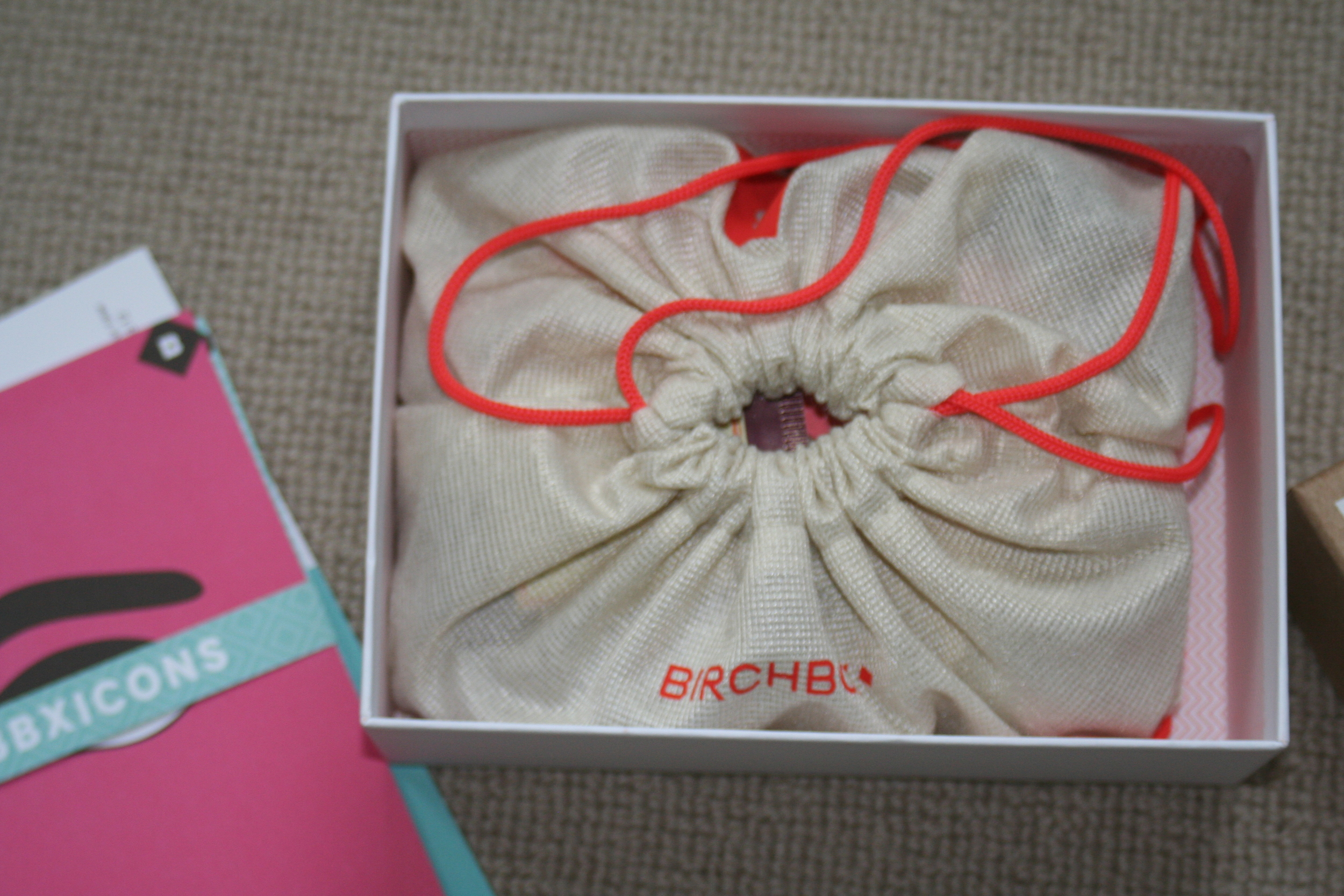Birchboxes have an inner draw-string bag which holds the goodies