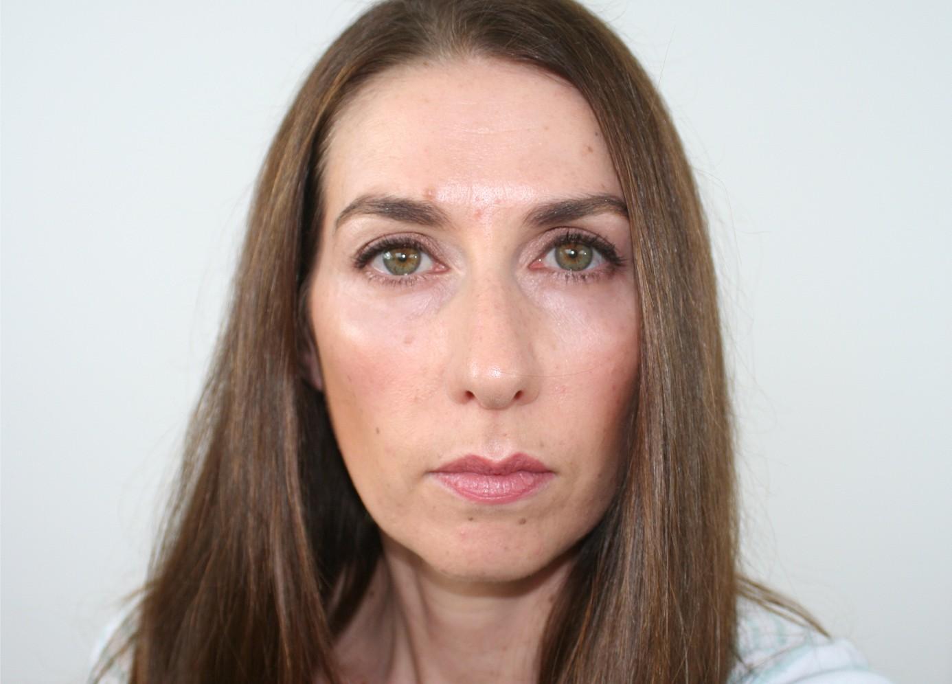 After - having contoured and highlighted around my cheekbones