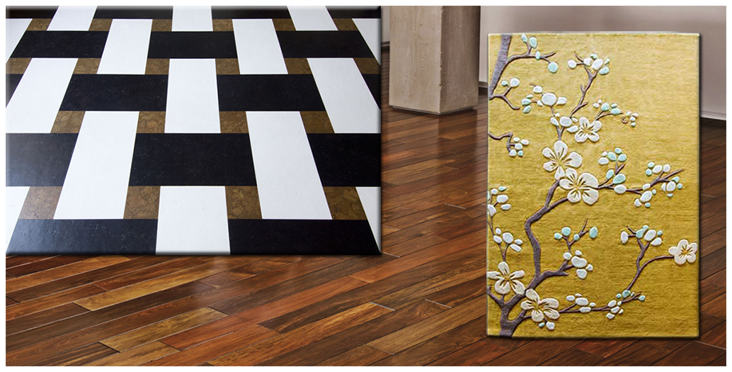 flooring selections of hardwood, tile, carpet, and area rugs