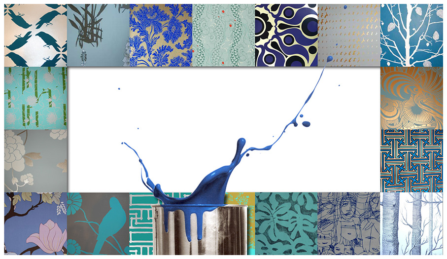 selections of paint colors and wall coverings