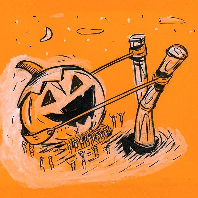 Day 19 - Sling . . #sling #pumpkinchucker #inktoberday19 #inktober2019 #inktober #ink #penandink #sketch #doodle #illustration @jakeparker
