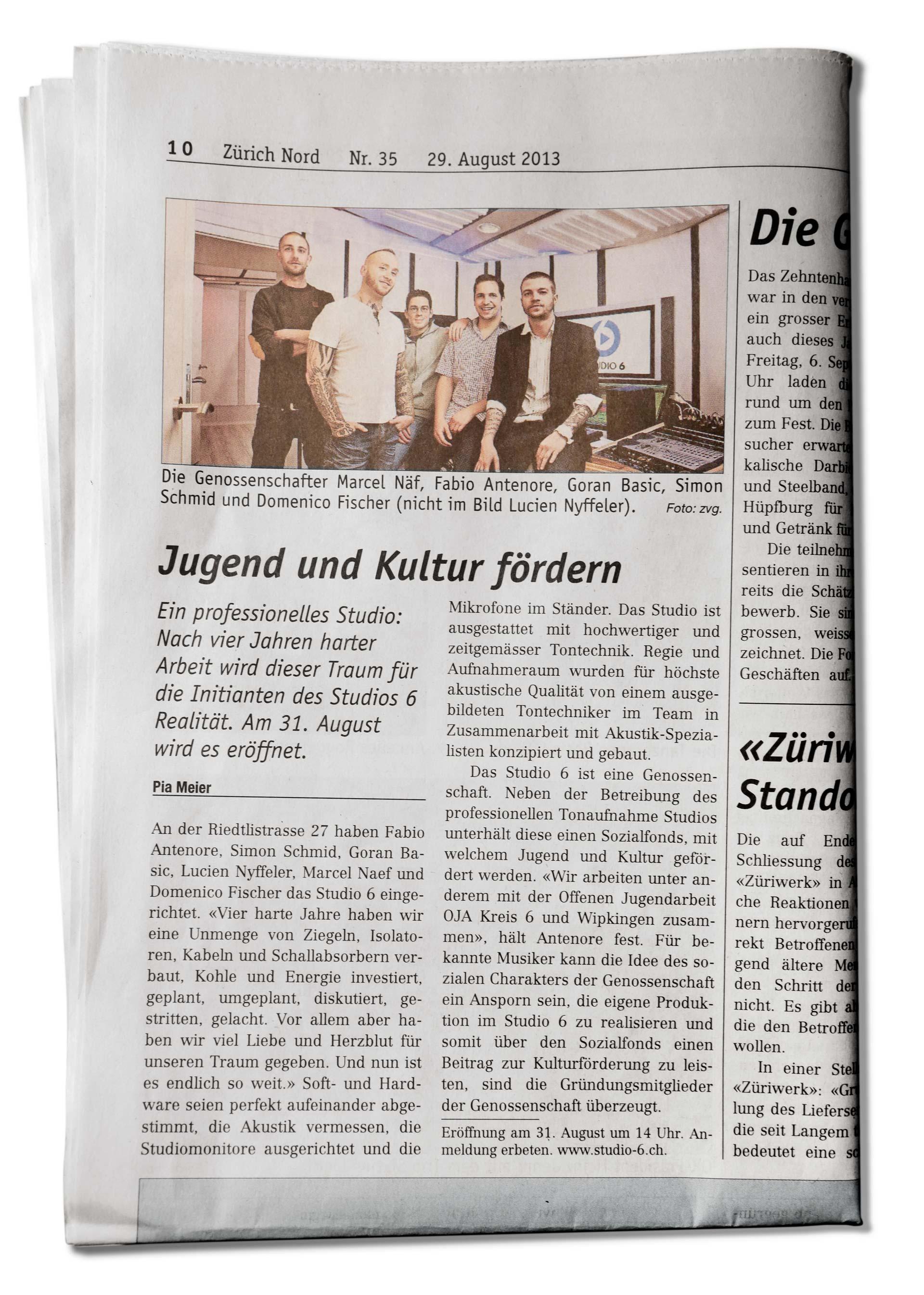 - Zürich Nord, 29.08.2013Pia Meier von Züri Nord kurz vor der offiziellen Eröffnung über Jugend- und Kulturförderung und das fertige Studio-6: