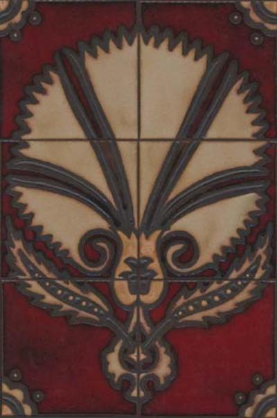 MR-257 6 Piece Prussian Fan Mural - Dafi Color Palette  Black Line