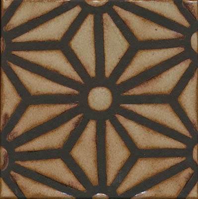 Star Lattice Deco  Ivory - black line - monochrome  Comes in 6x6