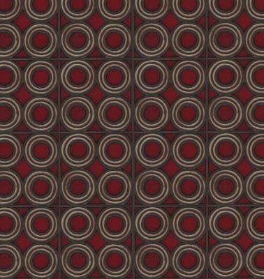 4-Circle Deco in repeat. Dafi Color Palette: Sangria + Limestone - black line