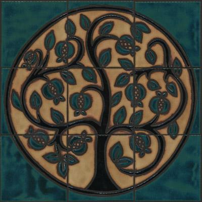 Pomegranate Mural - Tropicale Color Palette - black line  Colors: Aqua, Black Gloss, Ivory