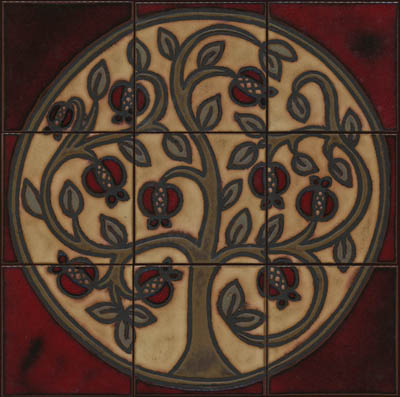 Pomegranate Mural in Ariana Color Palette - black line  Colors: Sangria, Cast Iron, Celine, Ivory