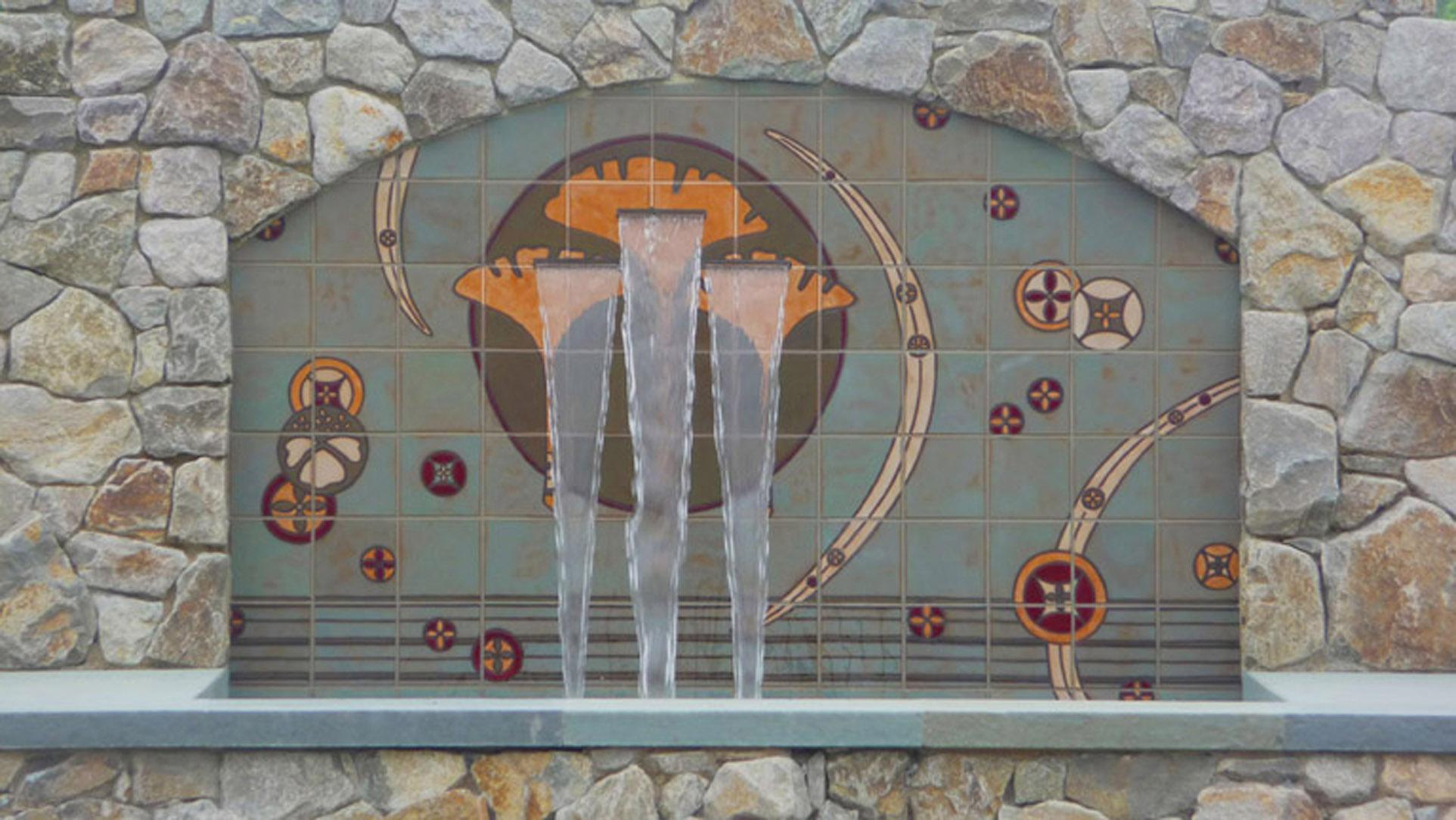 Custom Ginko Leaf Fountain Mural