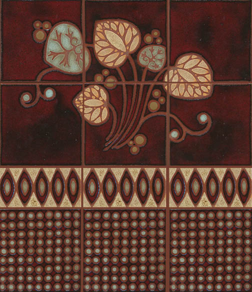 MR-188 6 piece Fan Leaf Mural shown with Seed Border 4x8 and Japan Dot 8x8  Volterre Color Palette - Clear Line