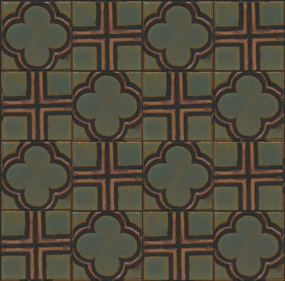 Clover 4x4 shown with Cross 4x4  Tavira Color Palette - black line