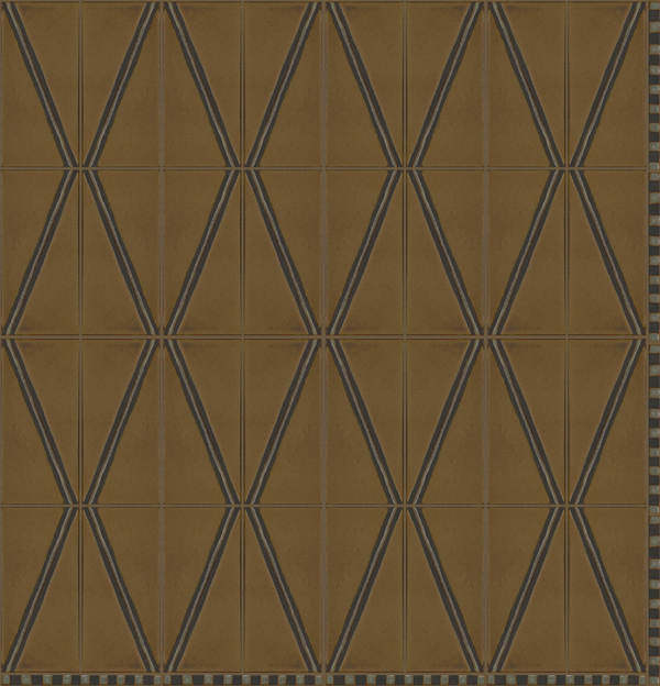 Diamond Stripe 4x8 in repeat with Venetian Border 1/2 x 8 in Celine  Colors: Cast Iron + Ivory - black line