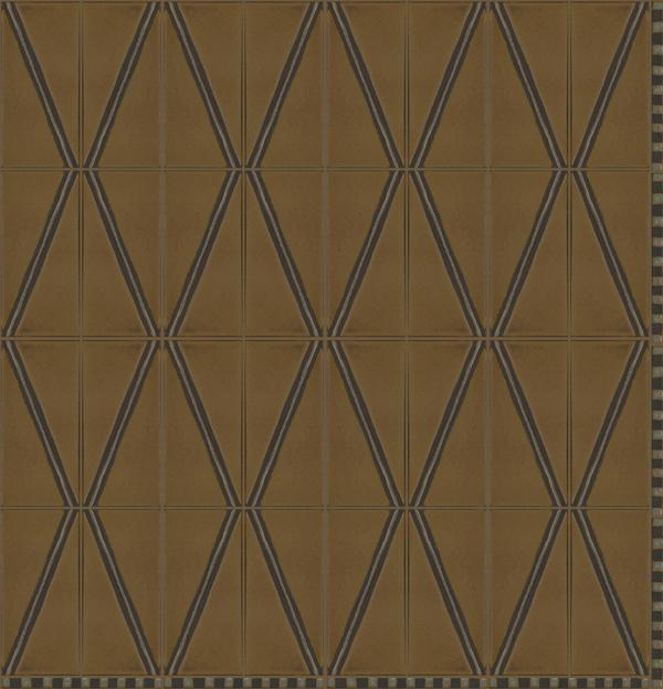 Diamond Stripe 4x8 in repeat with Venetian Border 1/2 x 8 in Celine  Colors: Cast Iron + Ivory - black line