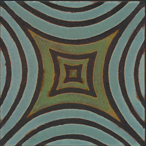 Mosaic Leaf 8x8  Ocean + Patina - black line