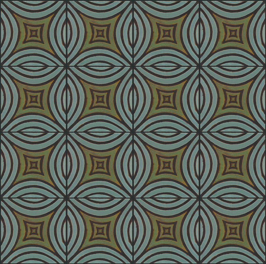 Mosaic Leaf 8x8 in repeat - Ocean + Patina - black line